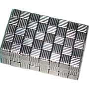 TIFFANY & CO. Sterling Silver Basket Weave Design Pill Box w/ Pouch