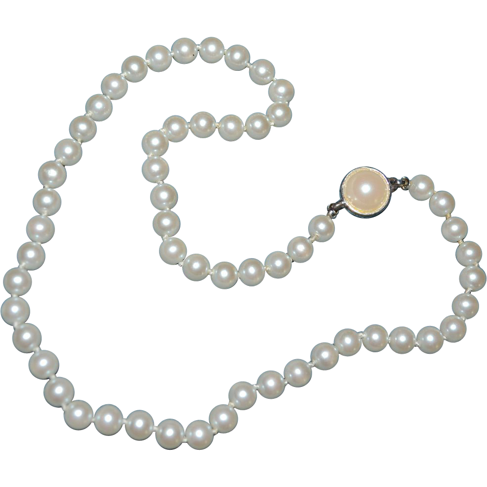 carolee signed classic simulated white pearl bead necklace from kitschandcouture on ruby lane
