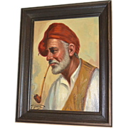 Giorgia Fraia 20th C Italian Artist 'Old Man Smoking Pipe' Framed Oil on Canvas Painting
