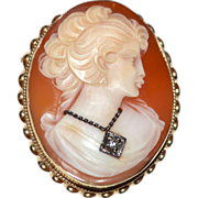 Fine 14K Gold 'Head of Flora' Roman Goddess Shell Cameo Habille w/ Diamond Necklace Pendant/Brooch/Pin