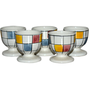 Rare Set of 5 Mondrian Inspired Mid-Century Modern Ceramic Egg Cups