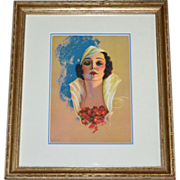 Signed Devores Art Deco Pin Up Girl Lithograph Art Print in Wood Frame