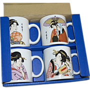 Japan The Art of Tableware Set of 4 Ukiyo-e Style Geisha Mugs in Original Box