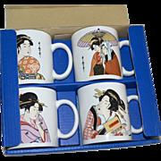 Japan The Art of Tableware Set of 4 Ukiyo-e Style Geisha Mugs in Original Box