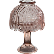 Pink Floral Pressed Glass Pedestal Fairy Lamp