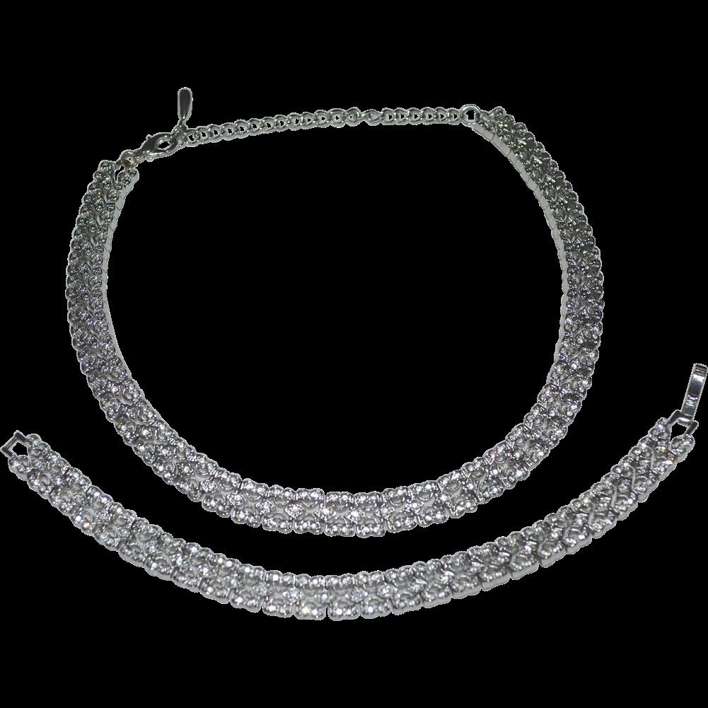 Designer Rhinestone Scalloped Edge Choker Necklace ...