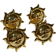 Pacific Rim Handcrafted Set of 4 Smiling Sun Goldtone Napkin Rings