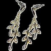 Sterling Silver & Cubic ZIrconia Leaf Design Chain Dangle Earrings