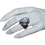 Gorgeous Sterling Silver & 14K Gold Huge White Quartz Ring ~ Size 8