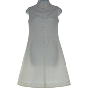 1960s Judy Wayne Sassy Rhinestone Button White Textured A-Line Dress