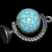 Danecraft Sterling Rotating Blue Glass Globe Pendant/Charm