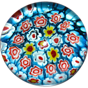 Blue, White, Red & Yellow Millefiori Flower Cane Art Glass Paperweight
