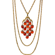 Crown Trifari Book Piece Honey Amber Lucite Waterfall Necklace w/ Original Triple Chain