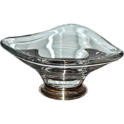 Baldwin Sterling Atomic Triangle Crystal Glass Silver Base Compote or Candy Dish
