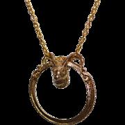 "Signed Florenza Ram Head Magnifying Glass Pendant 28"" Long Goldtone Necklace"