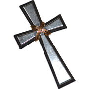 Large Hallmarked Sterling & 14K Gold Beveled Edge Cross Pendant
