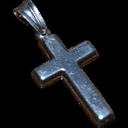 Italian Sterling Silver Block Style Cross Pendant