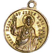 Brass 'Sweet Heart of Jesus' & Virgin Mary Small Religious Medal Charm