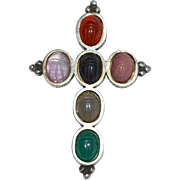 Large Sterling Silver & Carved Scarab Gemstone Cross Pendant