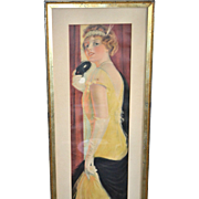 "AMAZING 1917 Pabst Theater 38"" Long Masquerade Deco Lady Flapper Promotional Calendar Art Print FRAMED"