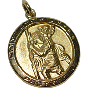 Chapel Sterling Saint Christopher Gilded Silver Medal Charm/Pendant