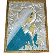 1940s Convent of the Cross Nun Handmade Devotional Virgin Mary Mixed Media Art