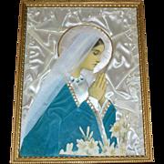 1940s Convent of the Cross Nun Handmade Devotional Virgin Mary Mixed Media Art