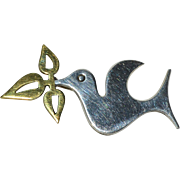 Taxco Sterling Stylized Dove w/ Olive Branch Pin/Brooch
