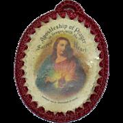 1936 Apostleship of Prayer Sacred Heart Red Crochet Catholic Scapular