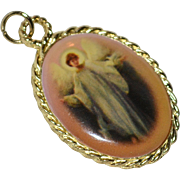 Large Enamel Michael the Archangel Religious Pendant or Charm