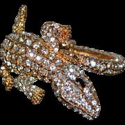 Gorgeous Gator Sparkly Rhinestone Clamper Bracelet