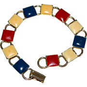 1960s Patriotic American Red, White & Blue Enamel Square Bookchain Bracelet