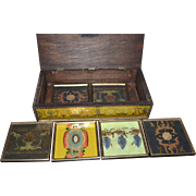 7-Pc Reverse Painted Glass Arabesque Style Wood Coaster Set & Large Box ~ South Cone Collection