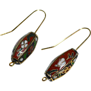 14K GF Asian Lantern Cloisonne Enamel Flower Dangle Earrings