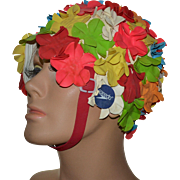 1960s SPEEDO Colorful Flower Rubber Swim Cap with Chin Strap