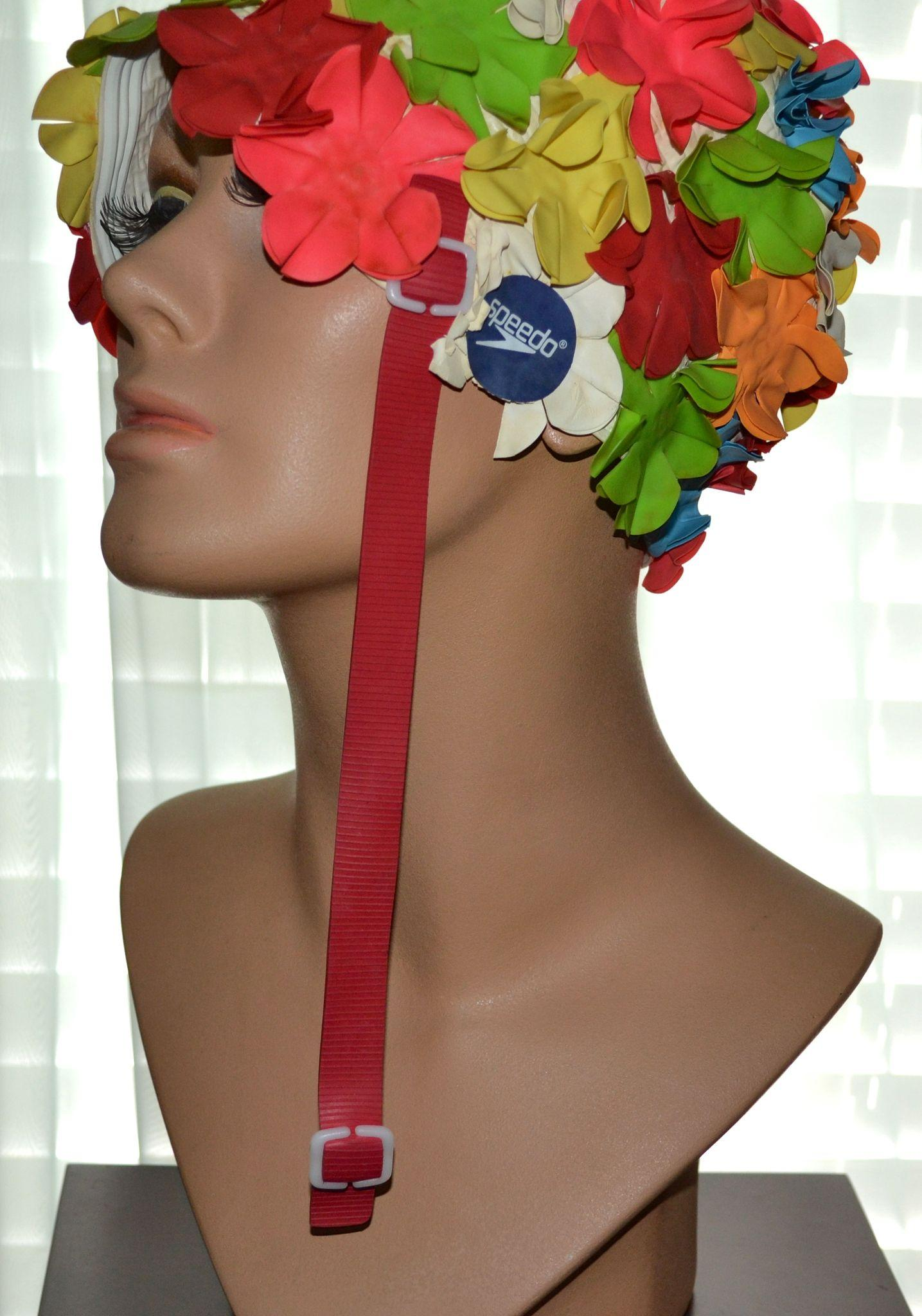 1960s Speedo Colorful Flower Rubber Swim Cap With Chin