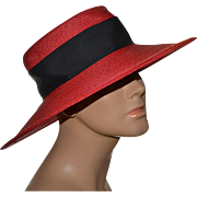 Frank Olive Saks Fifth Avenue Red Straw w/ Black Bow Wide Brim Hat