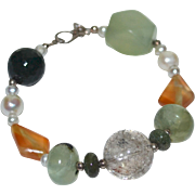 Sterling Silver Chunky Gemstone & Genuine Pearl Bead Bracelet