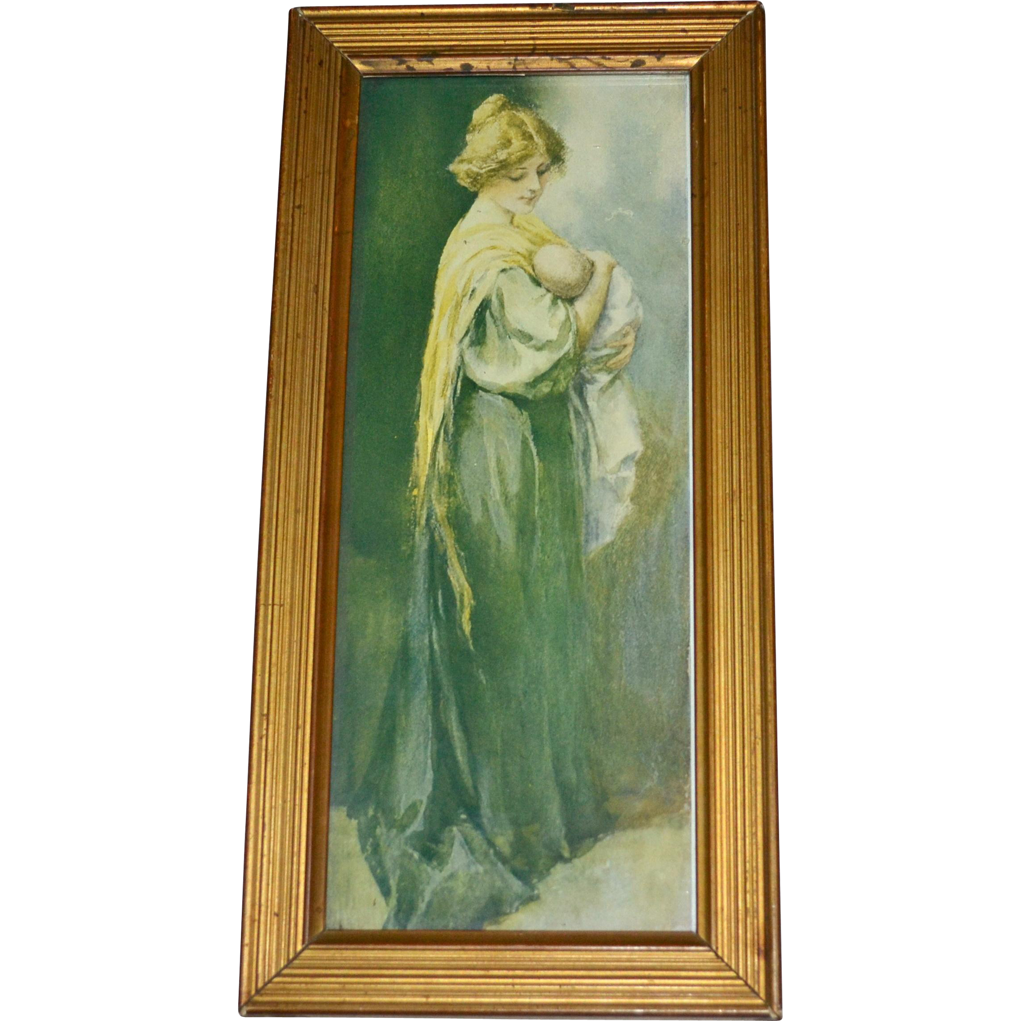 1930s Peasant Mother With Child Framed Color Art Print
