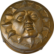 3D Man in the Moon or Celestial Sun Round Trinket Dish w/ Lid