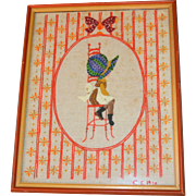 "1975 Large 22"" Holly Hobbie Hand Embroidery Folk Art in Orange Frame"