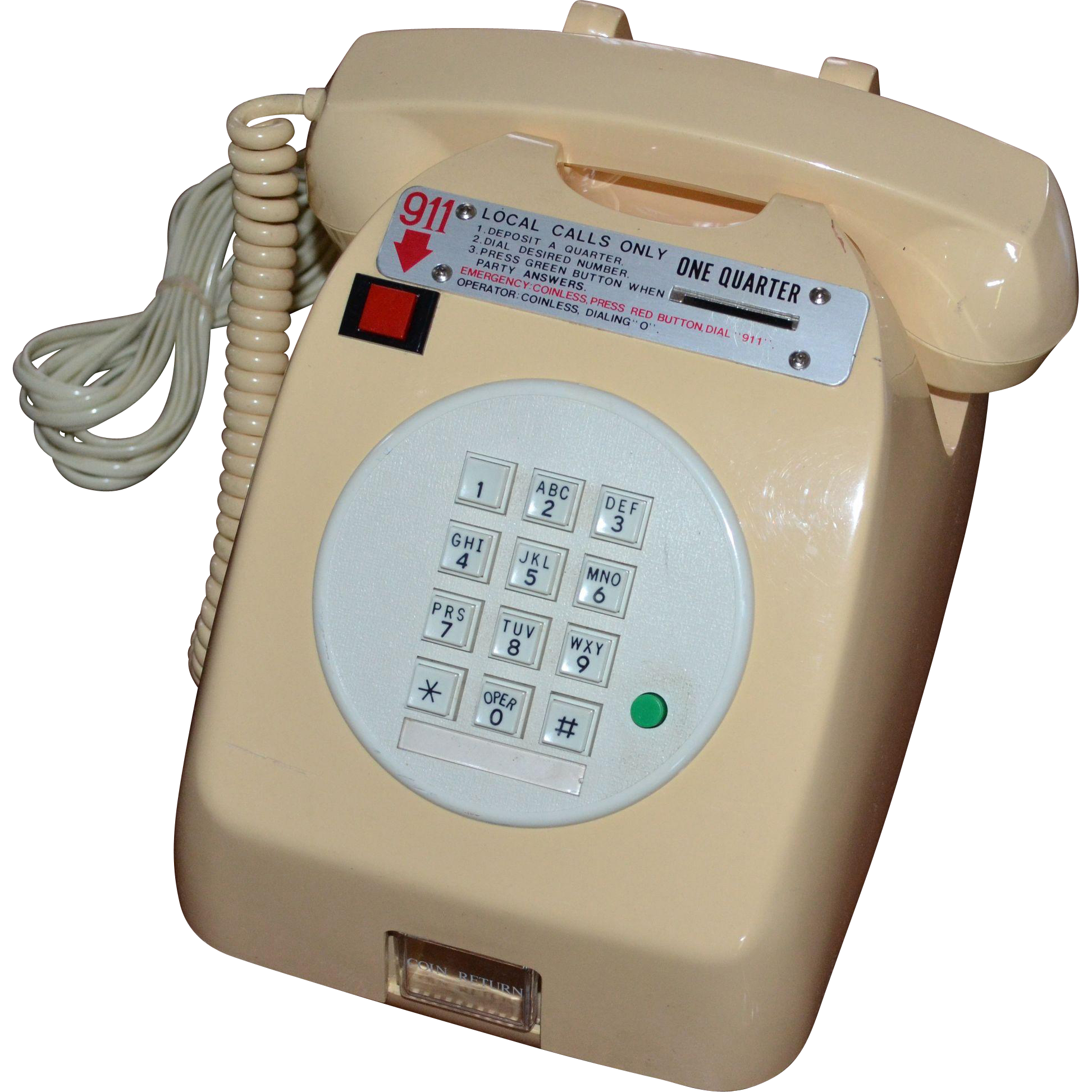 Locking 25 Cent Hotel Pay Phone Tongya Telecommunication Telephone Kitsch Couture Ruby Lane