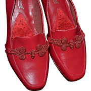 1970s Mushrooms Cherry Red Leather Slip-On Wedge Heels ~ Size 8M