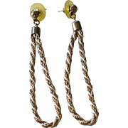 "1970s Long 3"" Twisted Rope Hoop Chain Dangle Earrings"