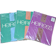 Never Worn Set of 3 HEIRESS Fashion Pantyhose: Blue, Peach, Textured Wine Colors