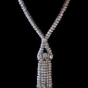 "1950s Elegant 3"" Rhinestone Drop Pendant Necklace"