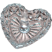 Vintage Cut Lead Crystal Glass Heart Ring Holder