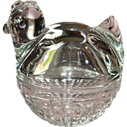 Anchor Hocking Nesting Chicken Glass Trinket Candy Dish with Lid