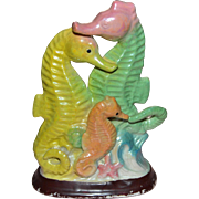 Colorful Iridescent Seahorse Ceramic Aquarium Decoration / Ornament - Red Tag Sale Item