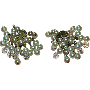 Signed Lisner Faux White Pearl Cha Cha Clip Earrings